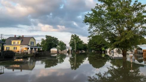 Neighborhood homes flooded during a natural disaster