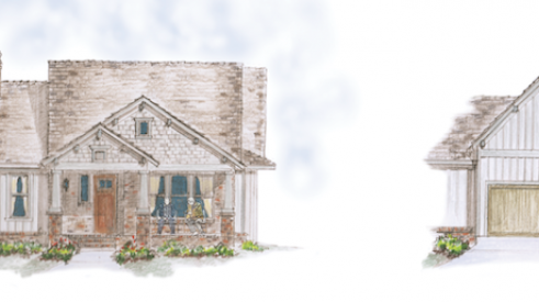 Old Mill Crossing home design front and garage elevations