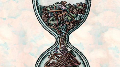 hourglass with building components in place of sand as home builders seek to reduce costs and cycle time