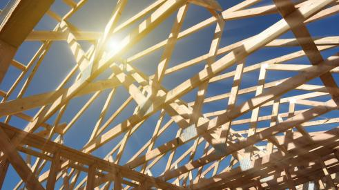 Lumber trusses frame a home's roof