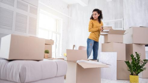 Girl moving into apartment