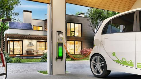 Electric car charging in home garage