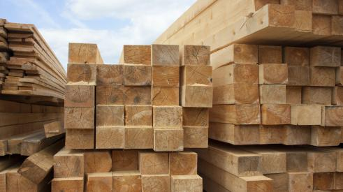 Pile of softwood lumber