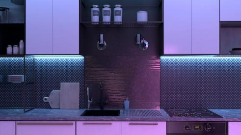 Purple antimicrobial LED lighting in kitchen