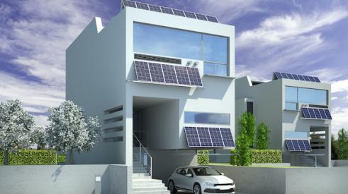 Rendering of a modern home with solar panels
