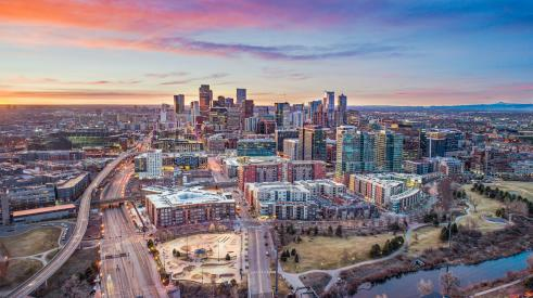Aerial view of Denver, Colo., skyline
