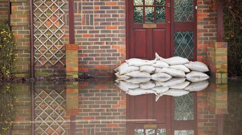 Sandbags outside home