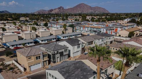 Aerial view of Arcadia Communities' Citrus Court and Square, in Phoenix