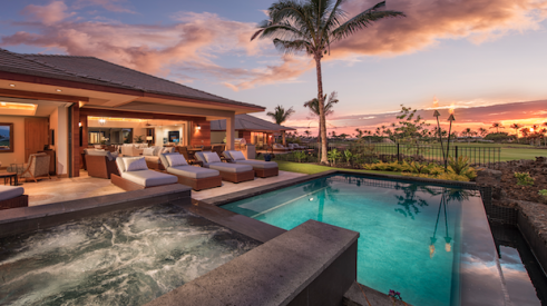 BALA winner_Best in American Living Award_The Residences at Laule'a infinity edge pool and outdoor living space