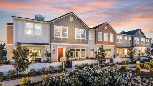 exteriors of the Solstice townhomes at New Haven in Ontario Ranch, Calif., by Brookfield Residential