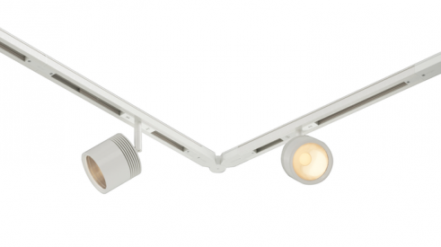 Bruck Lighting's SmarTrack 48-volt lighting track system in white