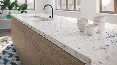 White Attica from Caesarstone's Whitelight Collection installed on a kitchen countertop