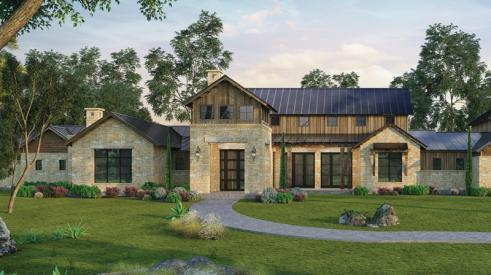 A rendering of the Guadalupe River Ranch built with Tyvek DrainVent Rainscreen.