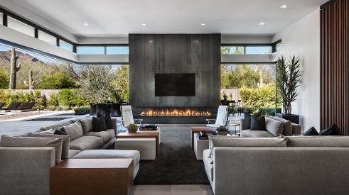 Clerestory windows with a fireplace in the home's great room