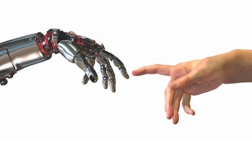 Robot hand (new technology) touching finger with human hand (old tech)