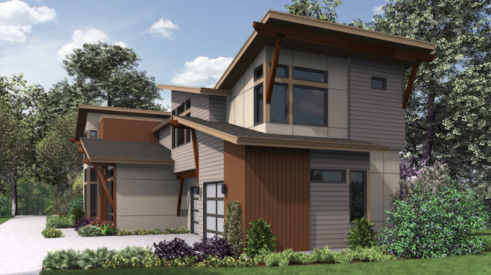 Exterior elevation of a home plan for a wide lot, designed for Merit Homes in Seattle