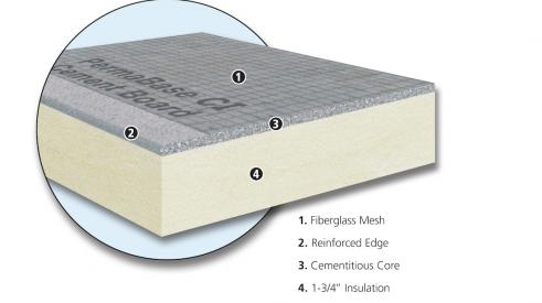 Permabase CI Insulated Cement Board from National Gypsum is a composite cement board with rigid insulation that serves as an ideal substrate for exterior finishes, the company says. It is mold-resistant, exceeds energy code requirements in all U.S. climate zones with an R-Value of R-10, and is Greenguard Gold-certified. Designed to be lighter weight than using a separate cement board and insulation products, the manufacturer also claims that using the board reduces total installed costs by between 20 and 25
