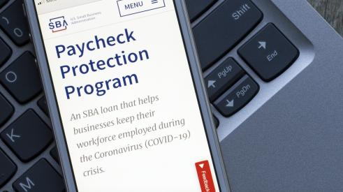 Paycheck Protection Program info displayed on smartphone