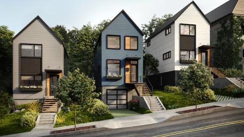 Rendering of modular homes built on Pittsburgh's Black Street