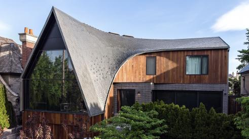 "Rheinzink's zinc metal roofing installed on the ""A-House"" in Toronto"