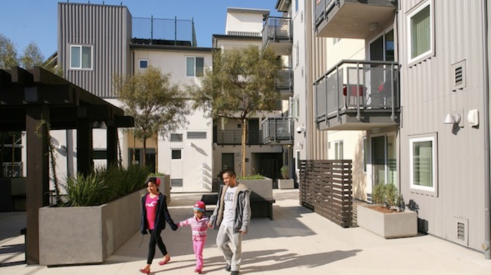 exterior of the Rio Vista low-income rental apartment project built on land owned by the Los Angeles Unified School District