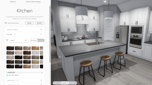 3D kitchen rendering showing materials selections for a gray and white kitchen design