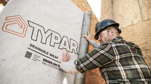 Typar building wrap being installed