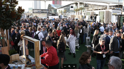 crowds of people in the home building industry at the International Builders' Show 2020 in Las Vegas networking and looking at product demonstrations