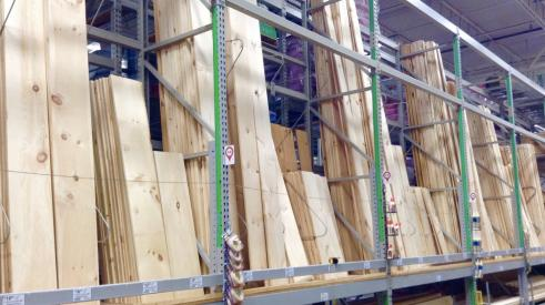 Lumber in warehouse
