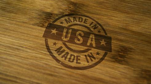Made in America stamped onto wood