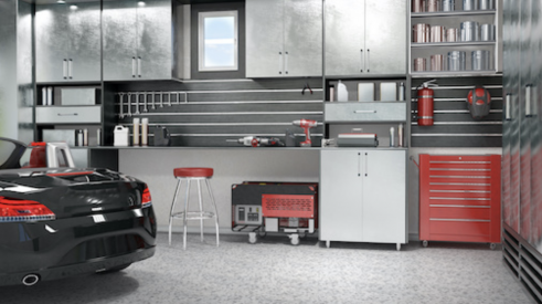 Modern garage interior with sleek storage, metal cabinets