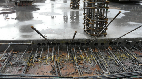 A post-tensioned concrete slab foundation during construction