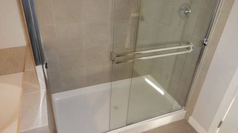 Shower with pre-formed pan in the bathroom
