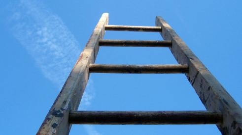 ladder reaching up to sky
