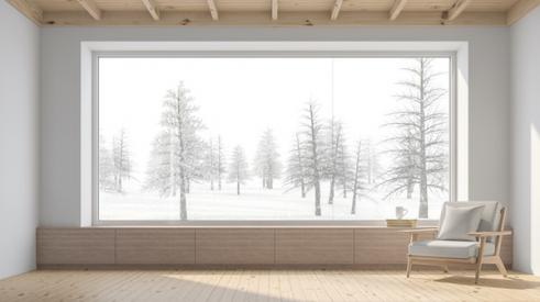 Wood Windows with view out to winter trees