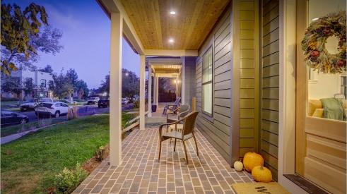 Front porch of all-electric home in Denver