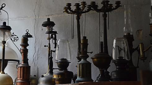 Salvaged candelabra and lighting for remodeling