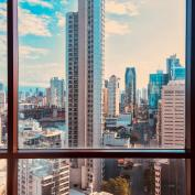 View through city apartment window