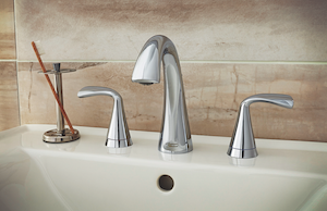 Inspired by the movement of water, the Fluent faucet collection from American Standard offers smooth lines.