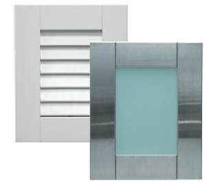two examples of danver stainless outdoor new line of cabinet door styles louvered