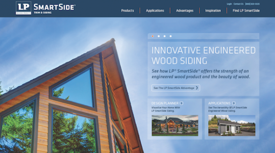 screen shot of the LP SmartSide Trim and Siding website
