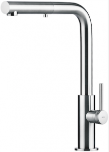 The Spin HD faucet from MGS of Milano is a solid stainless steel faucet that has a pull-out dual-spray hand shower.