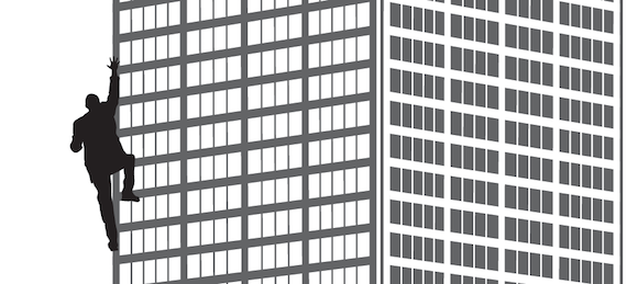 Illustration of a man scaling a tall building