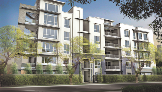 Rendering of the exterior of ETCO Homes' 460 Palm, showing its contemporary, sleek styling.