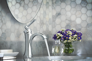 Moen's Wynford single-hole lavatory faucet, in chrome.