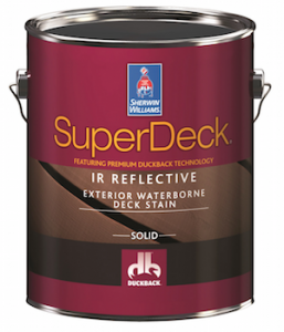 The SuperDeck Finishing System by Sherwin-Williams with Duckback technology includes products for staining, sealing, stripping, cleaning, and restoring decks.