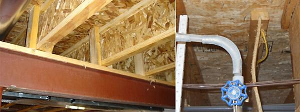 Squash blocks installed to support load from above.Right: Load from above without squash blocks or blocking panels caused this web to buckle. Blocking panels should have also been used to provide lateral support to the joist ends.