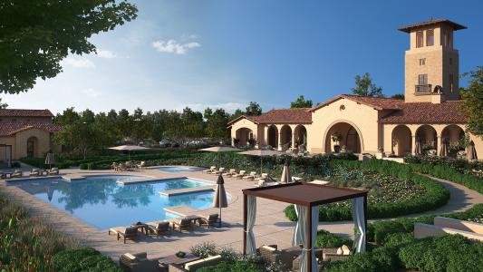 Outdoor pool at resort club within Terramor, a master planned community in California