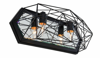The Varaluz Wright Stuff bath light has a steel Frank Lloyd Wright-inspired design with a black finish and mirrored backplate.