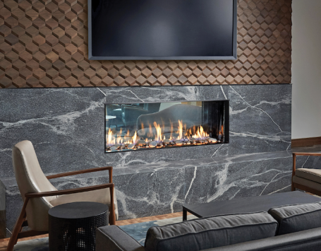 DaVinci Collection linear see-through fireplace from Travis Industries